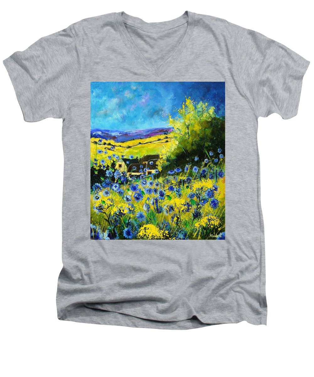Flowers Men's V-Neck T-Shirt featuring the painting Cornflowers In Ver by Pol Ledent