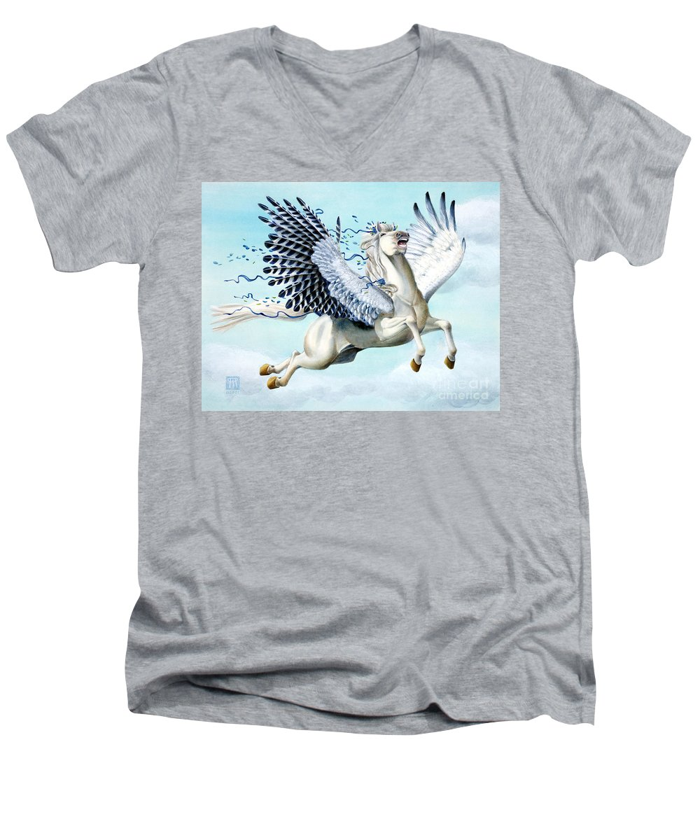 Artwork Men's V-Neck T-Shirt featuring the painting Cory Pegasus by Melissa A Benson