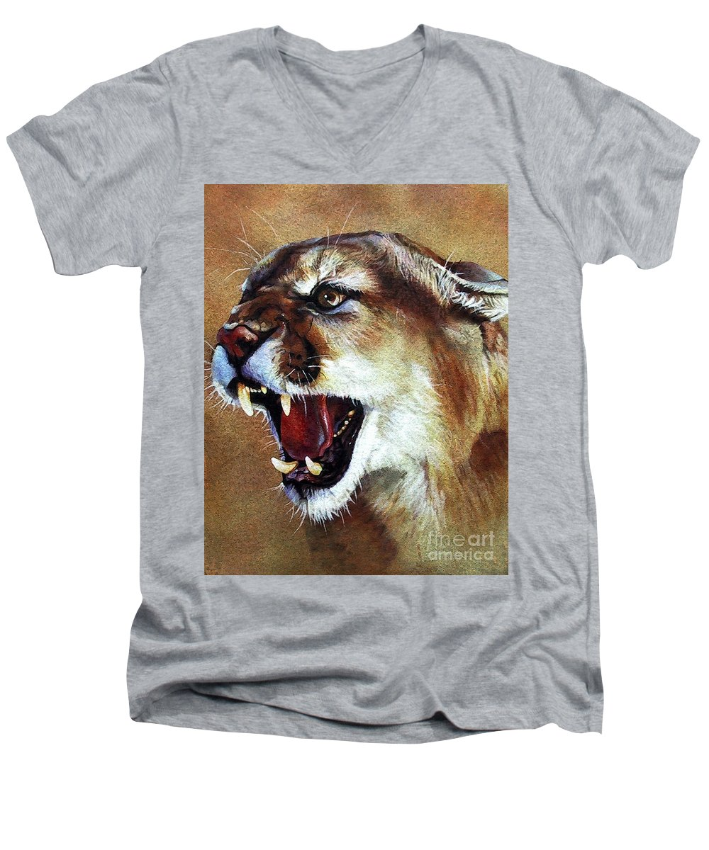 Southwest Art Men's V-Neck T-Shirt featuring the painting Cougar by J W Baker