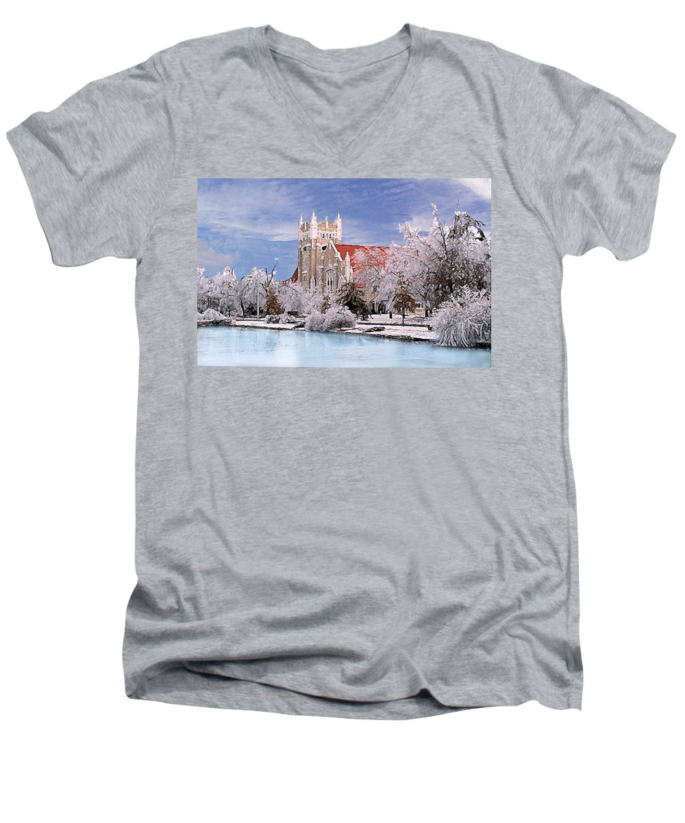 Winter Men's V-Neck T-Shirt featuring the photograph Country Club Christian Church by Steve Karol