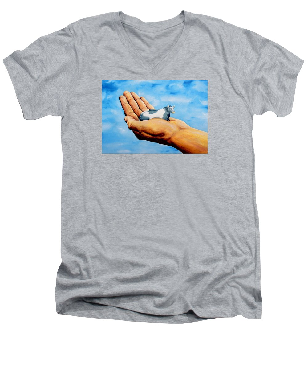 Surreal Men's V-Neck T-Shirt featuring the painting Cow In Hand by Mark Cawood