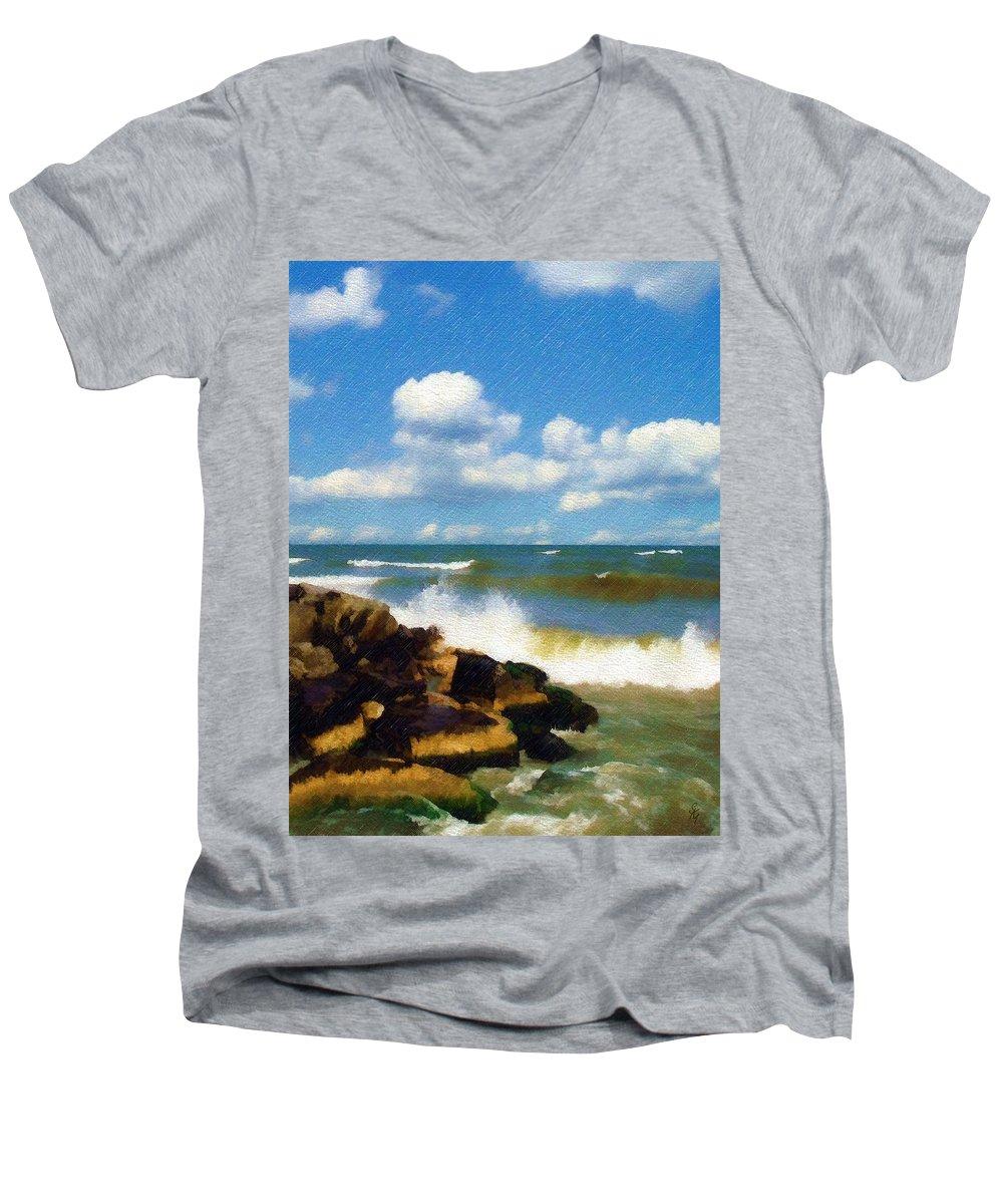 Seascape Men's V-Neck T-Shirt featuring the photograph Crashing Into Shore by Sandy MacGowan