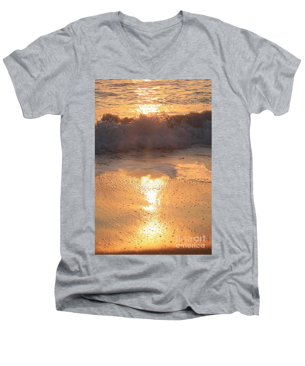 Waves Men's V-Neck T-Shirt featuring the photograph Crashing Wave At Sunrise by Nadine Rippelmeyer