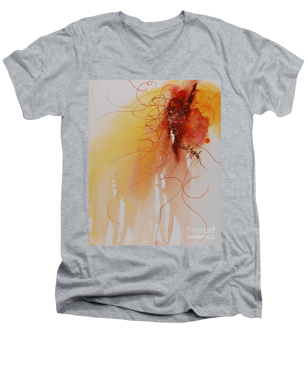 Creativity Men's V-Neck T-Shirt featuring the painting Creativity by Nadine Rippelmeyer
