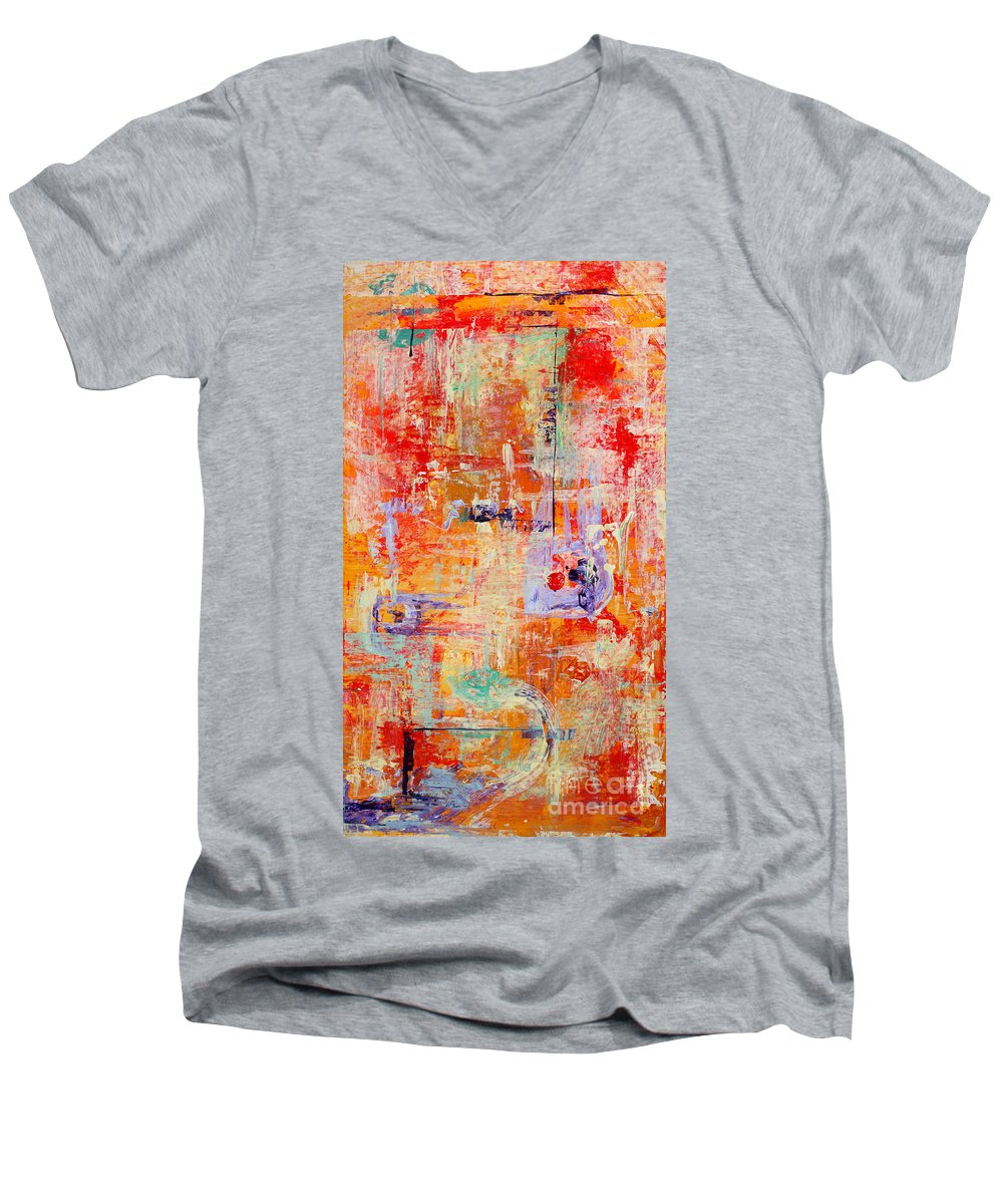 Large Format Painting Men's V-Neck T-Shirt featuring the painting Crescendo by Pat Saunders-White