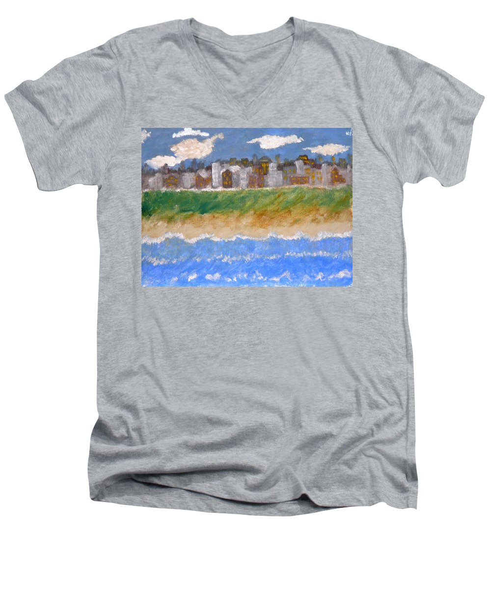 Seascape Men's V-Neck T-Shirt featuring the painting Crowded Beaches by R B