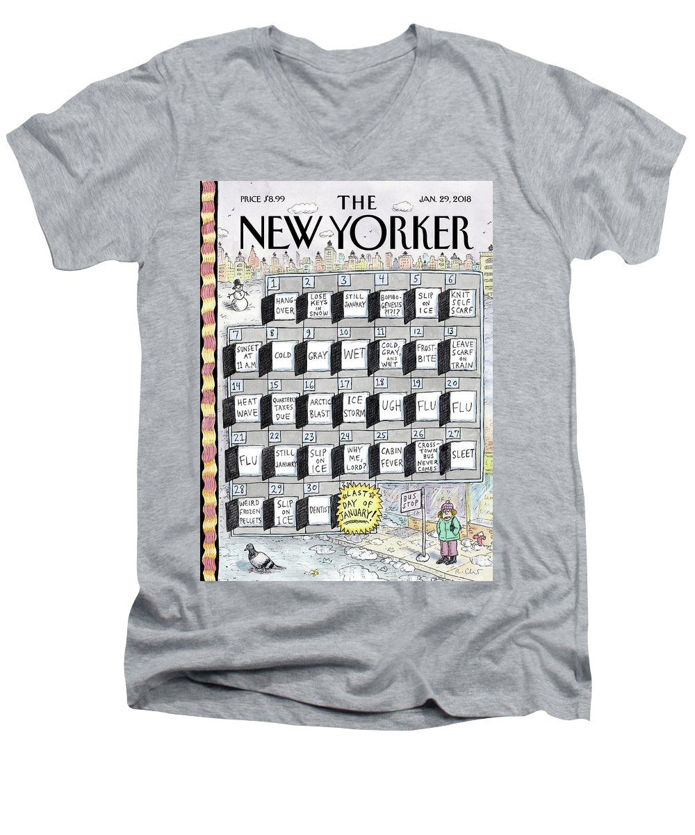 Cruellest Month Men's V-Neck T-Shirt featuring the drawing Cruellest Month by Roz Chast