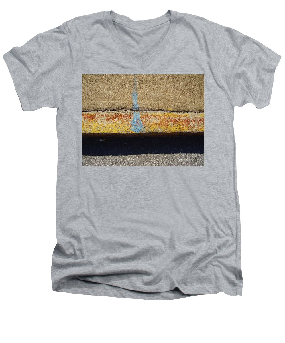 Abstract Men's V-Neck T-Shirt featuring the photograph Curb by Flavia Westerwelle