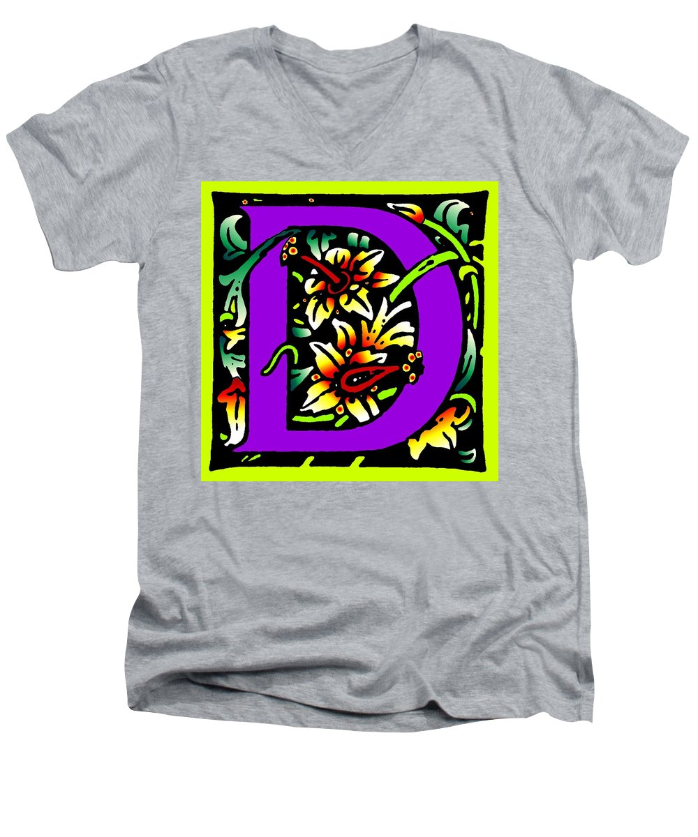 Alphabet Men's V-Neck T-Shirt featuring the digital art D In Purple by Kathleen Sepulveda