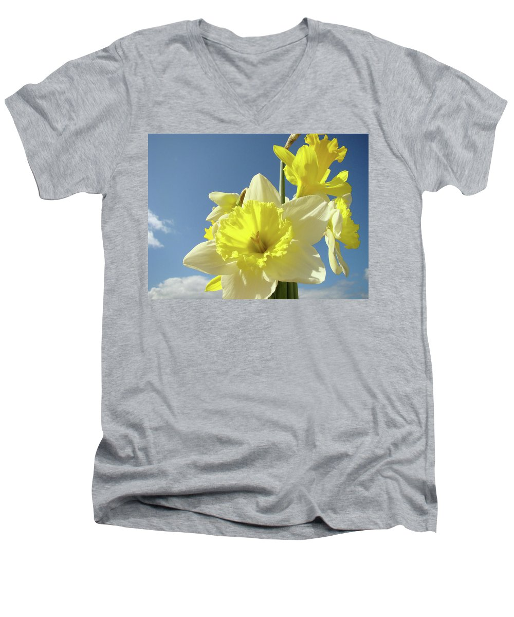 �daffodils Artwork� Men's V-Neck T-Shirt featuring the photograph Daffodil Flowers Artwork Floral Photography Spring Flower Art Prints by Baslee Troutman