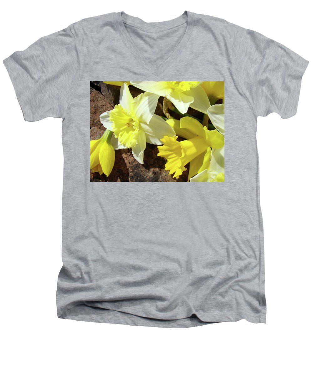�daffodils Artwork� Men's V-Neck T-Shirt featuring the photograph Daffodils Flower Bouquet Rustic Rock Art Daffodil Flowers Artwork Spring Floral Art by Baslee Troutman
