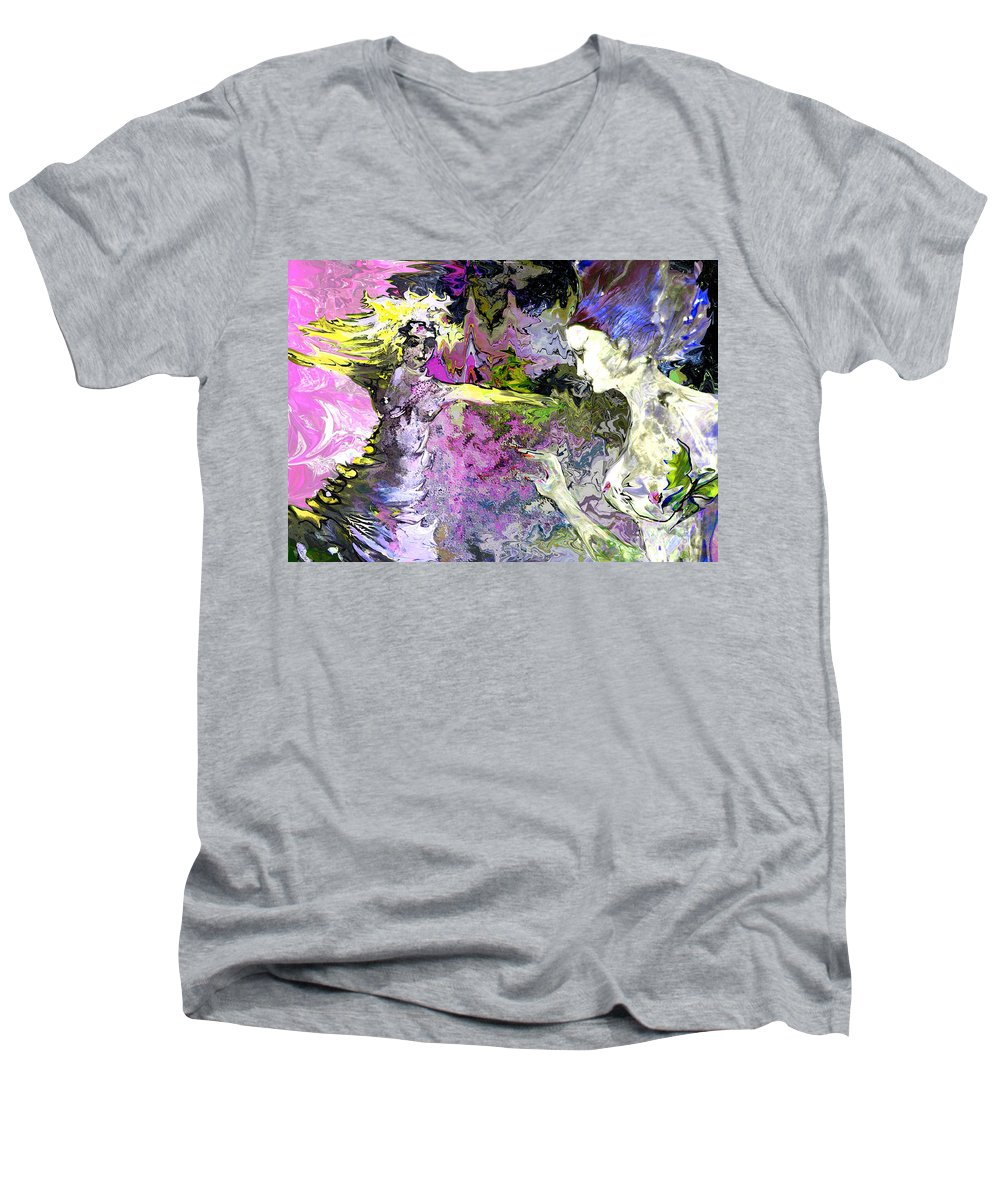 Miki Men's V-Neck T-Shirt featuring the painting Dance In Violet by Miki De Goodaboom