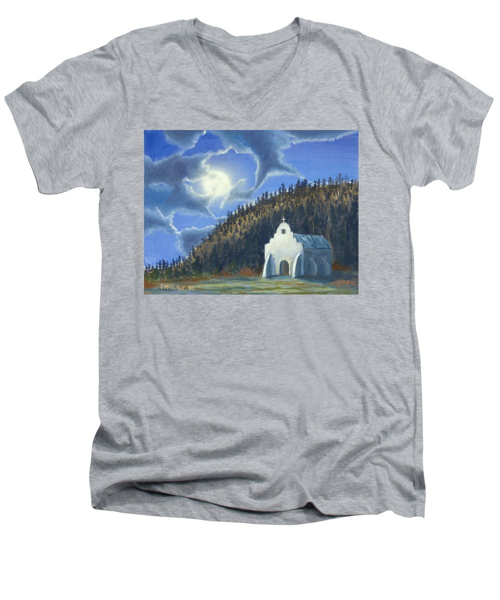 Landscape Men's V-Neck T-Shirt featuring the painting Dancing In The Moonlight by Jerry McElroy