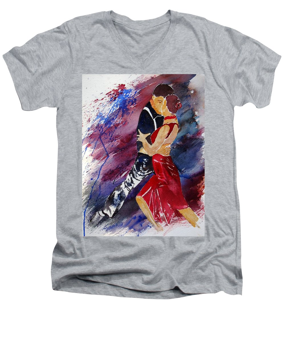Tango Men's V-Neck T-Shirt featuring the painting Dancing Tango by Pol Ledent