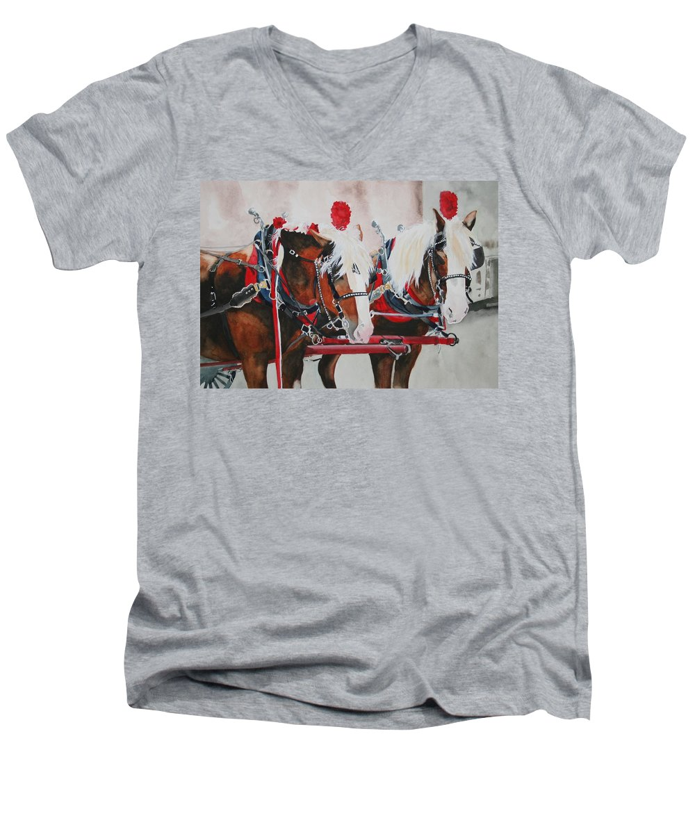Horse Men's V-Neck T-Shirt featuring the painting Dandy Duo by Jean Blackmer