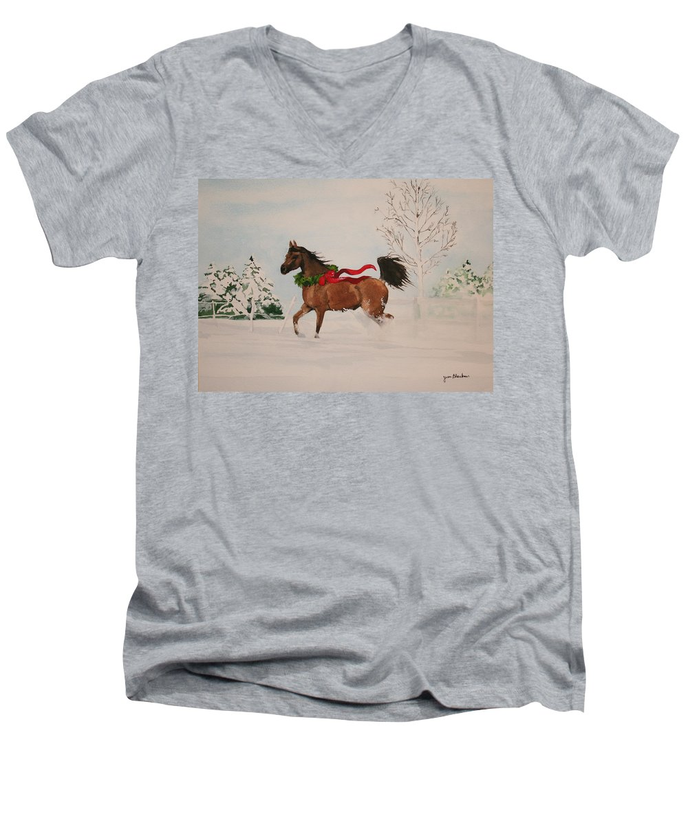 Horse Men's V-Neck T-Shirt featuring the painting Dashing Thru The Snow by Jean Blackmer