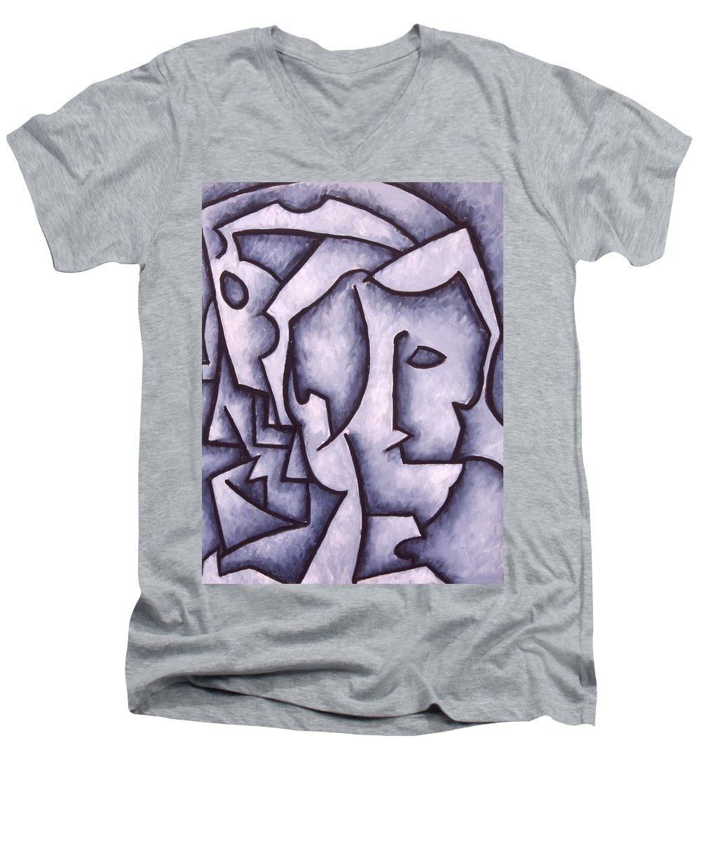 Abstract Men's V-Neck T-Shirt featuring the painting David by Thomas Valentine