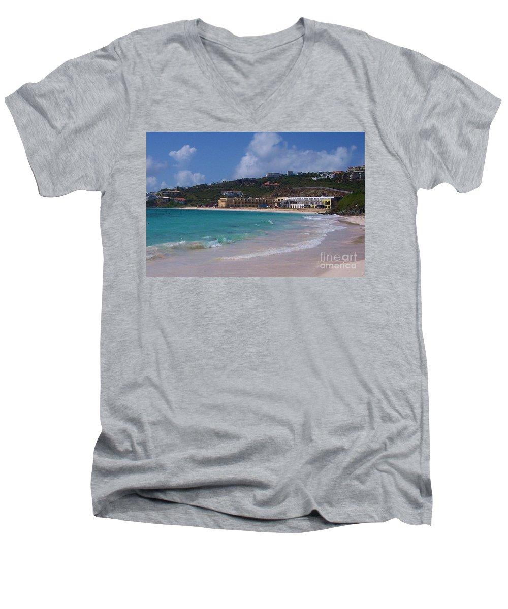 Dawn Beach Men's V-Neck T-Shirt featuring the photograph Dawn Beach by Debbi Granruth