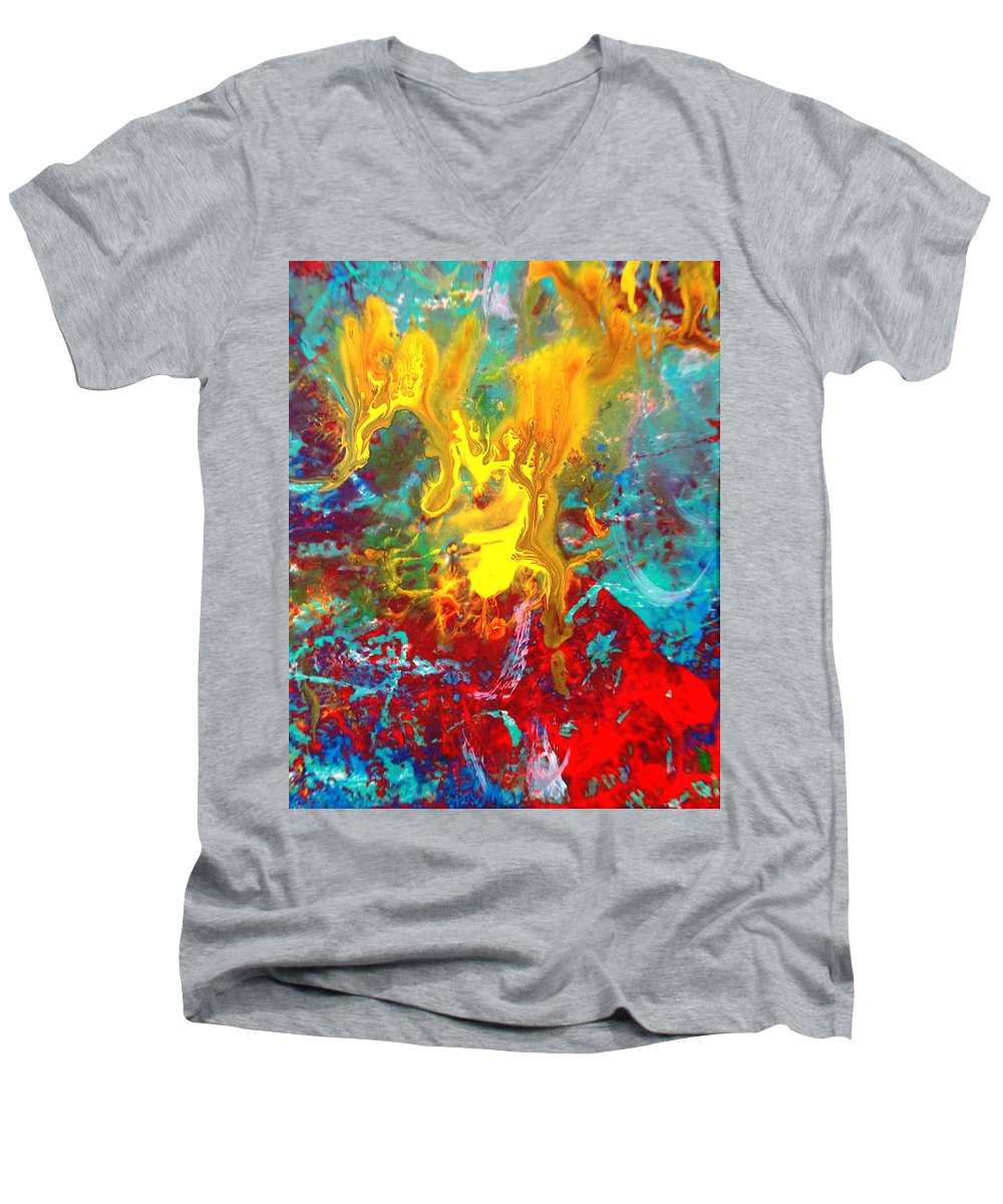 Abstract Men's V-Neck T-Shirt featuring the painting Dawn Of The Universe by Natalie Holland
