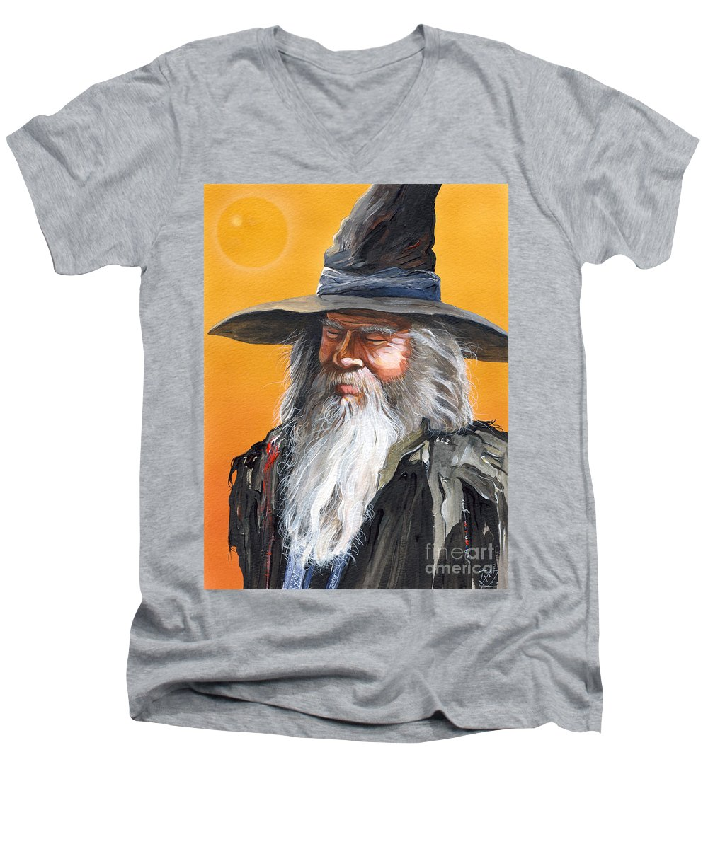 Fantasy Art Men's V-Neck T-Shirt featuring the painting Daydream Wizard by J W Baker