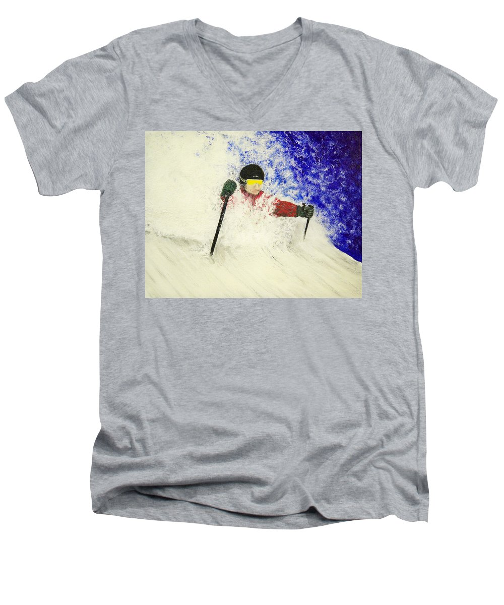 Utah Men's V-Neck T-Shirt featuring the painting Deeeep by Michael Cuozzo