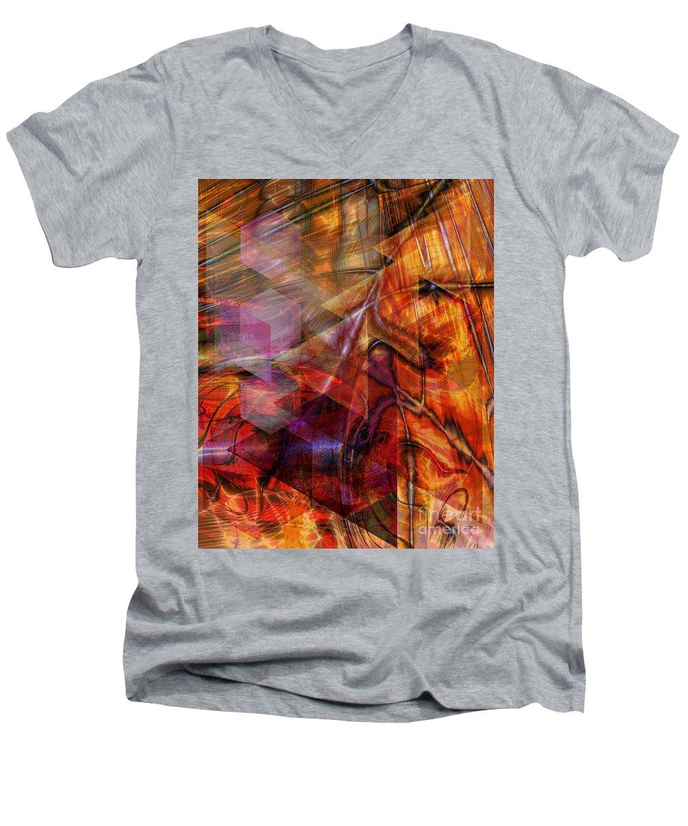 Deguello Sunrise Men's V-Neck T-Shirt featuring the digital art Deguello Sunrise by John Beck
