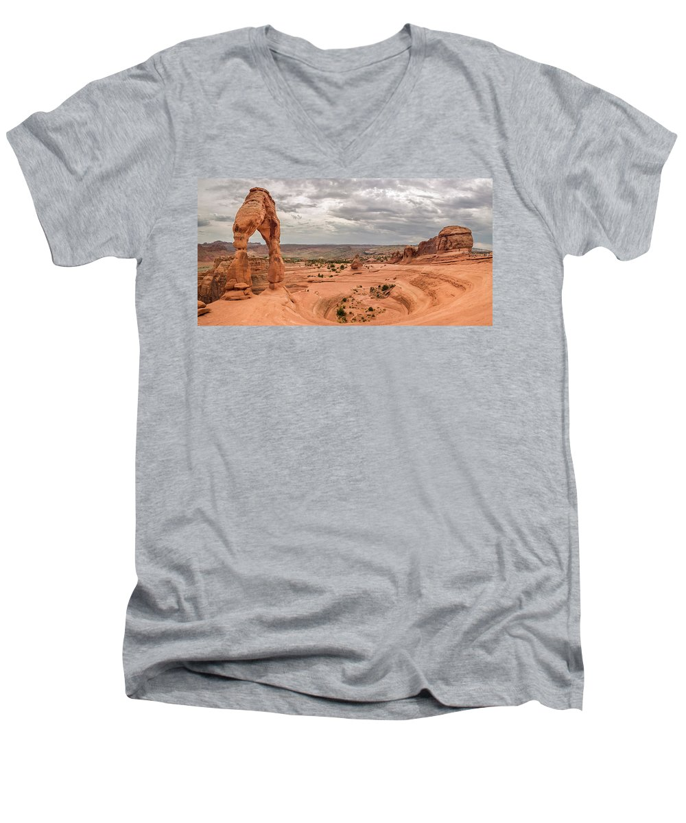 3scape Men's V-Neck T-Shirt featuring the photograph Delicate Arch Panoramic by Adam Romanowicz
