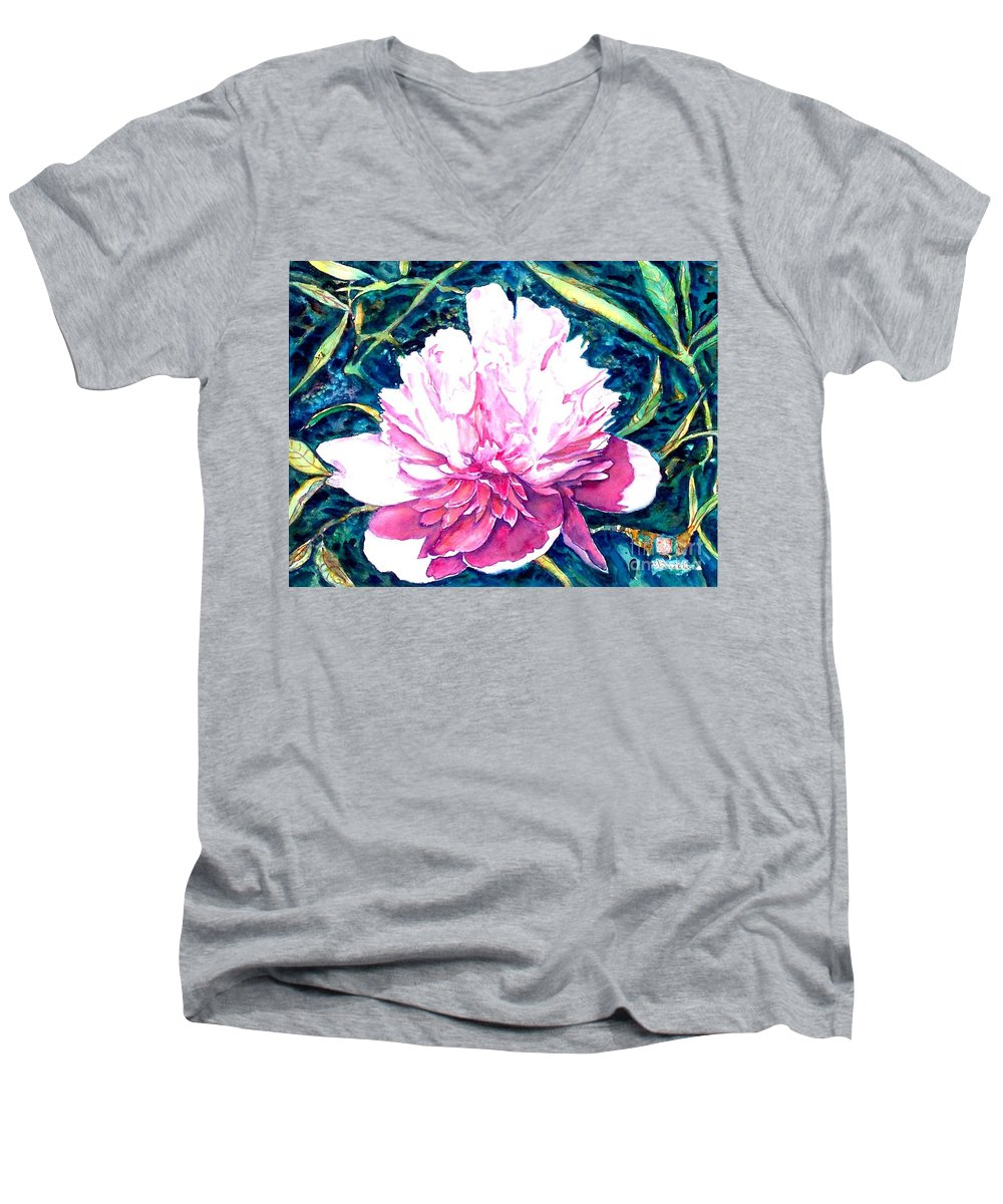 Peony Men's V-Neck T-Shirt featuring the painting Delightful Peony by Norma Boeckler