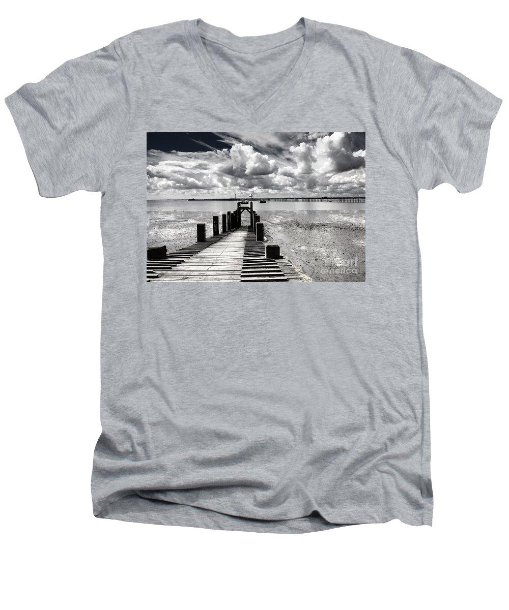 Wharf Southend Essex England Beach Sky Men's V-Neck T-Shirt featuring the photograph Derelict Wharf by Sheila Smart Fine Art Photography