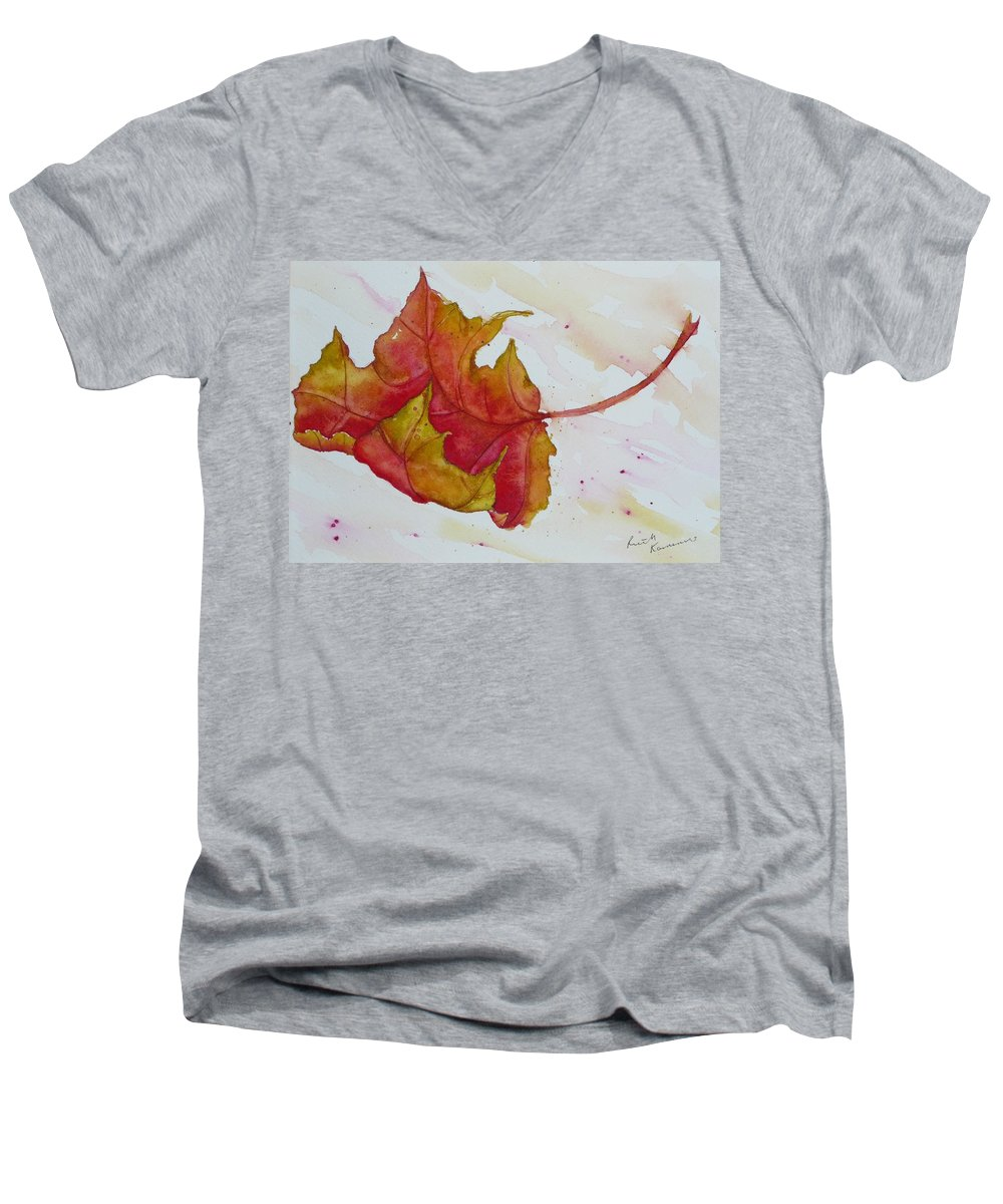Fall Men's V-Neck T-Shirt featuring the painting Descending by Ruth Kamenev