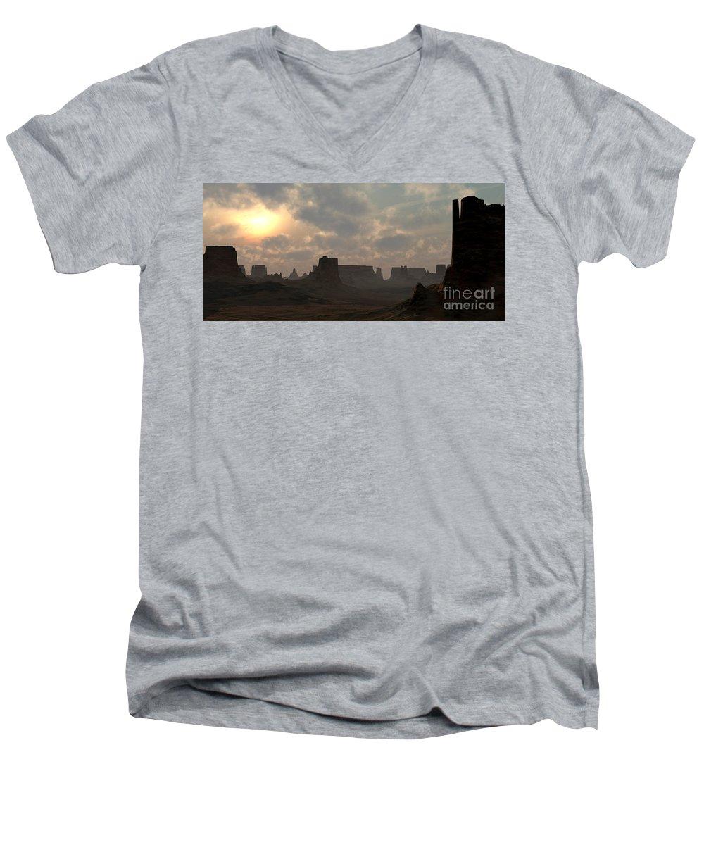 Desert Men's V-Neck T-Shirt featuring the digital art Desert Morning by Richard Rizzo