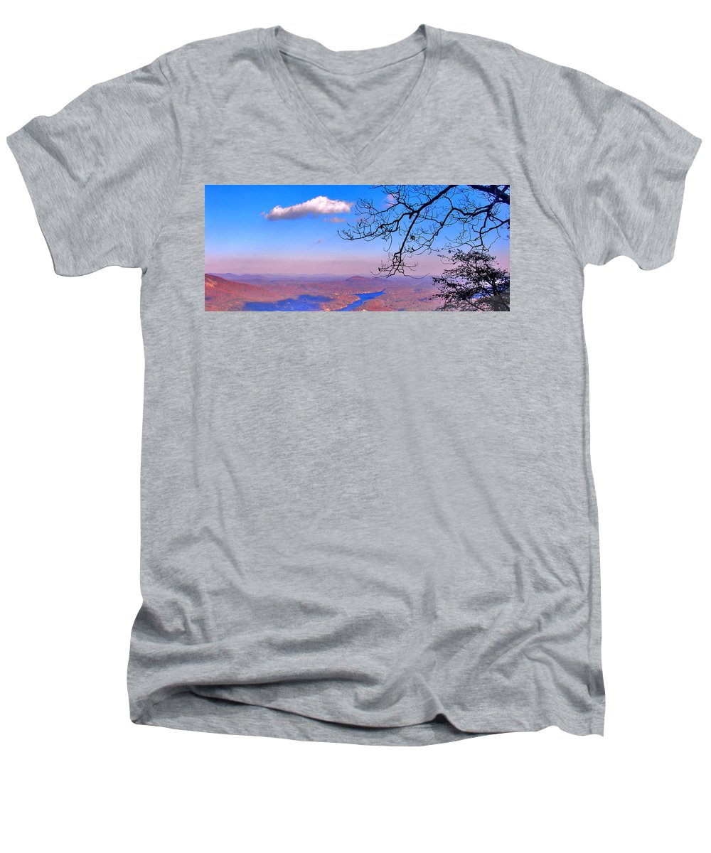 Landscape Men's V-Neck T-Shirt featuring the photograph Detail From Reaching For A Cloud by Steve Karol