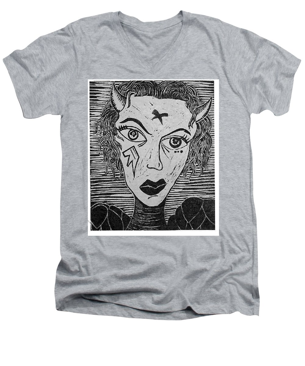Prints Men's V-Neck T-Shirt featuring the print Devil Print Two Out Of Five by Thomas Valentine