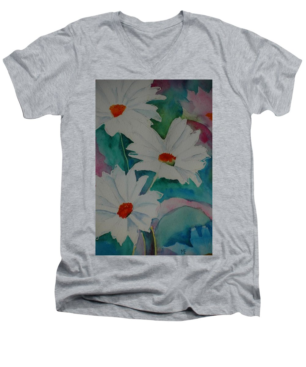 Daisies Men's V-Neck T-Shirt featuring the painting Devin's Dasies by Melinda Etzold