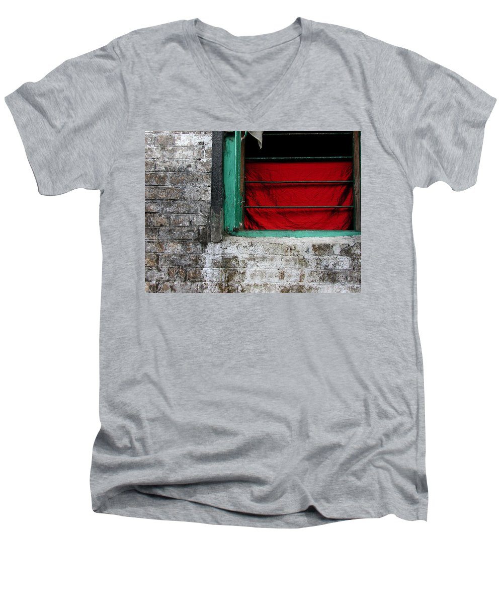 Red Men's V-Neck T-Shirt featuring the photograph Dharamsala Window by Skip Hunt