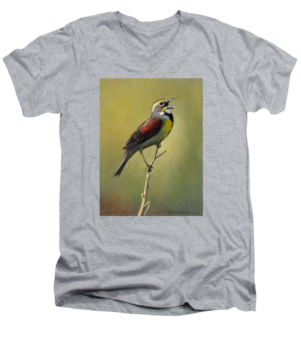 Birds Men's V-Neck T-Shirt featuring the drawing Dickcissel Summer Song by Bruce Morrison