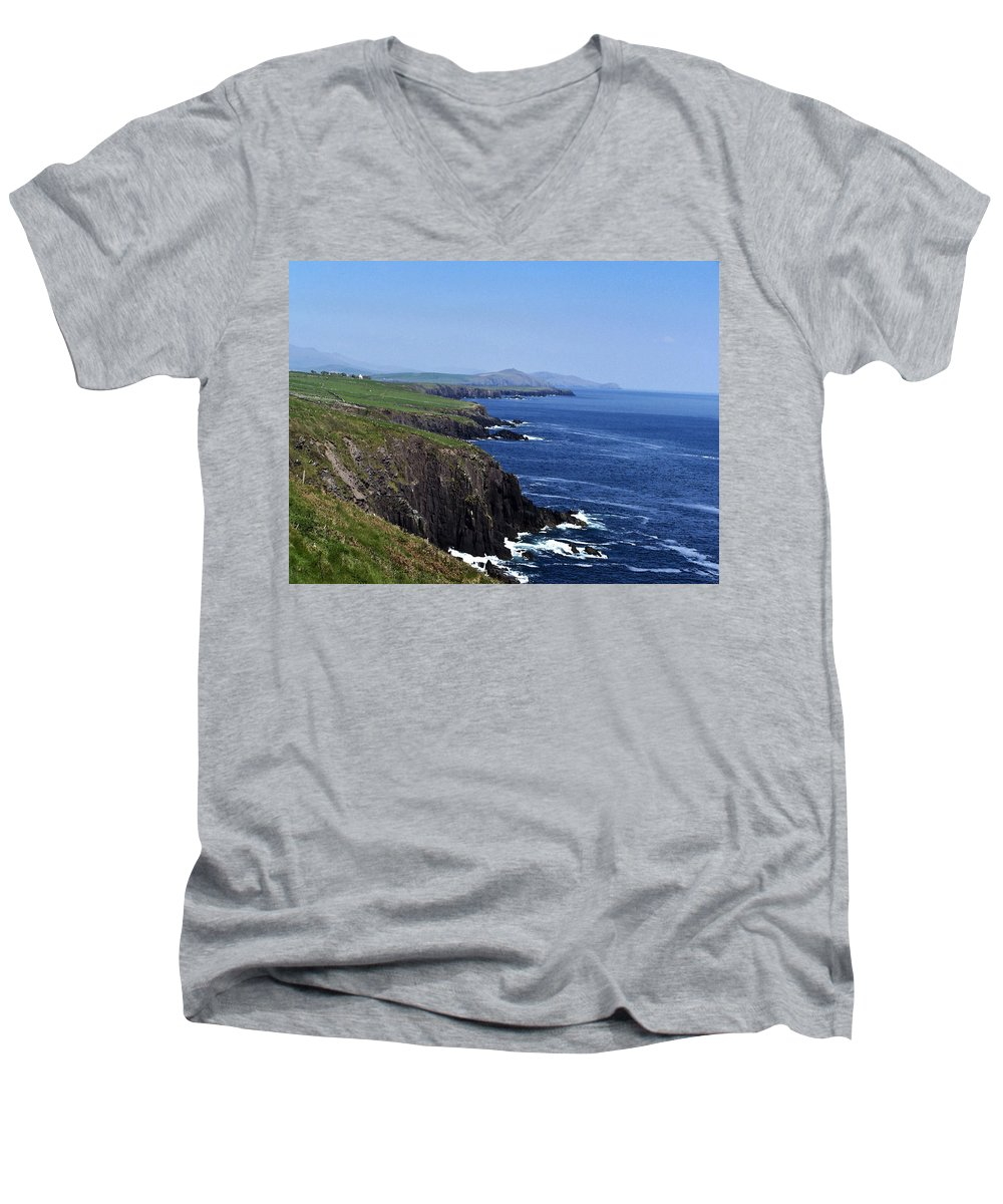 Irish Men's V-Neck T-Shirt featuring the photograph Dingle Coast Near Fahan Ireland by Teresa Mucha