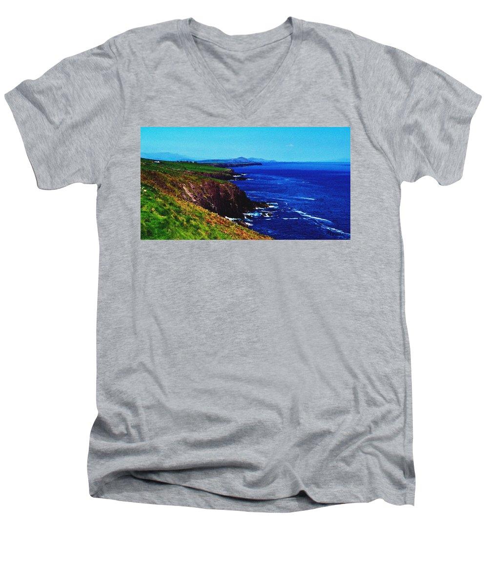 Irish Men's V-Neck T-Shirt featuring the digital art Dingle Coastline Near Fahan Ireland by Teresa Mucha