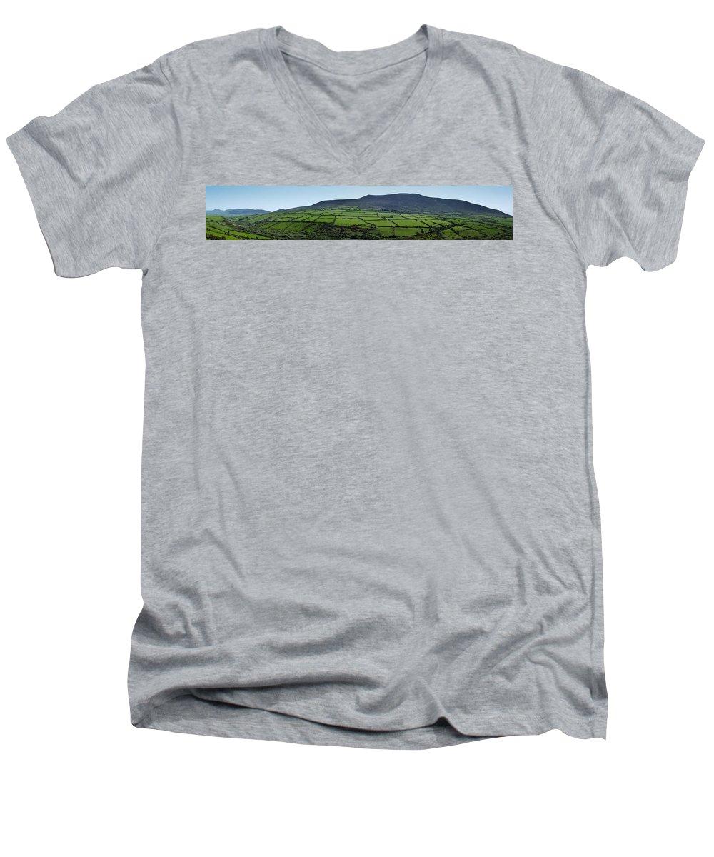 Irish Men's V-Neck T-Shirt featuring the photograph Dingle Peninsula Panorama Ireland by Teresa Mucha