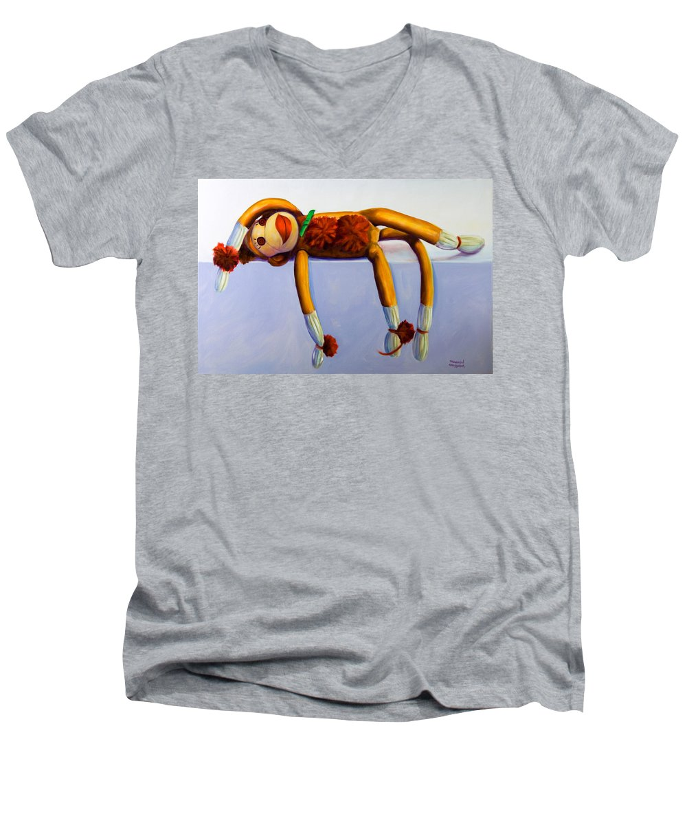 Diva Men's V-Neck T-Shirt featuring the painting Diva Made Of Sockies by Shannon Grissom