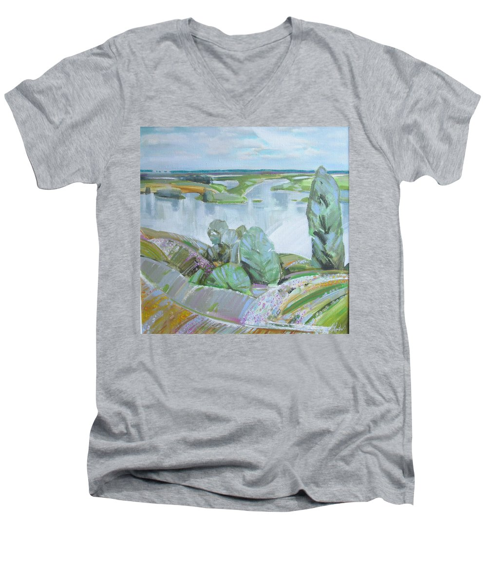 Landscape Men's V-Neck T-Shirt featuring the painting Dnepro River by Sergey Ignatenko