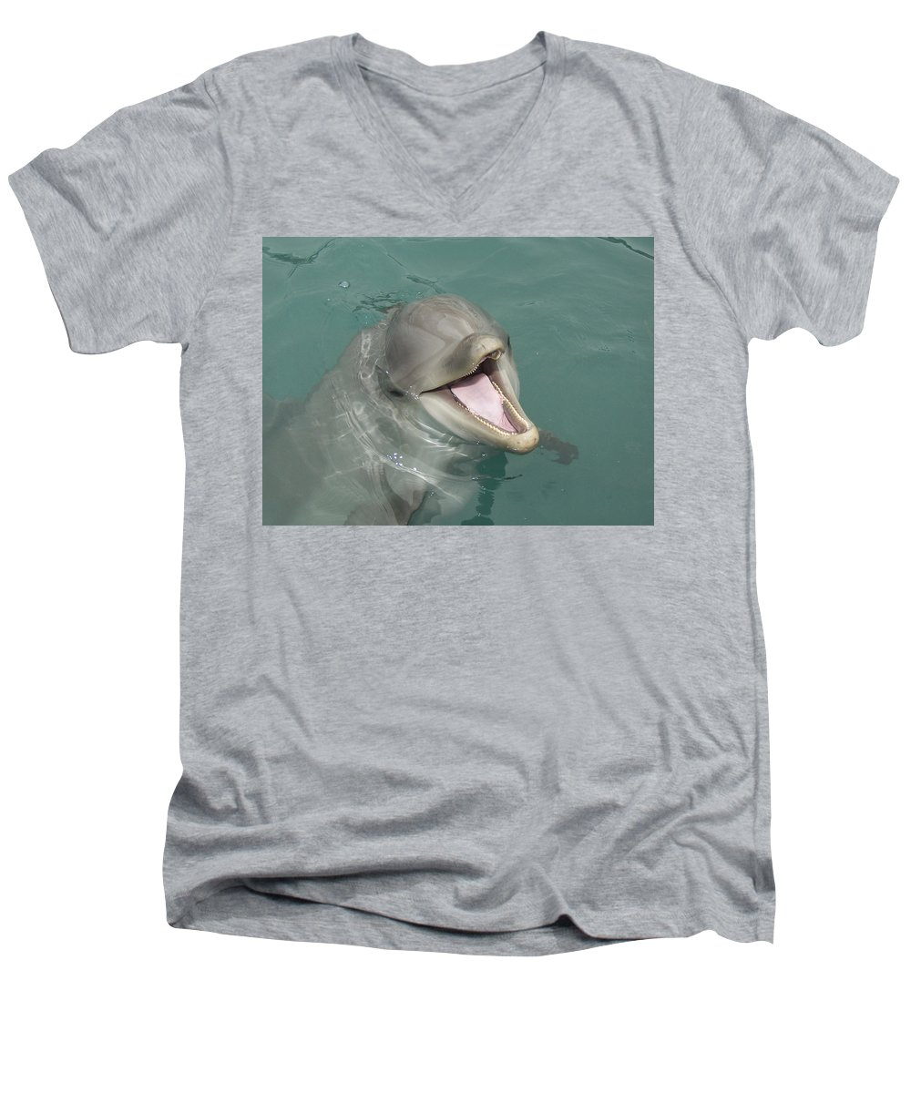 Dolphin Men's V-Neck T-Shirt featuring the painting Dolphin by Sean M