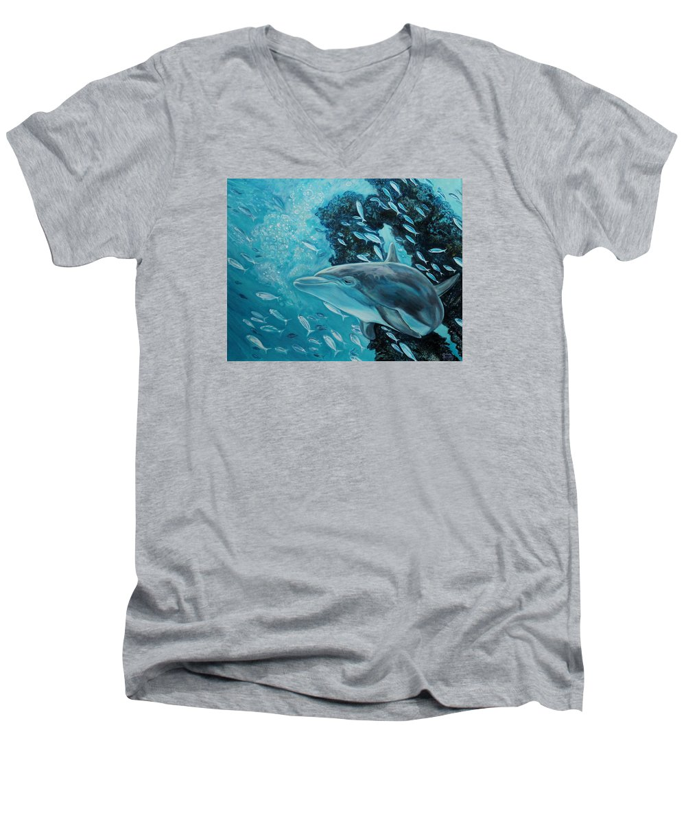 Underwater Scene Men's V-Neck T-Shirt featuring the painting Dolphin With Small Fish by Diann Baggett