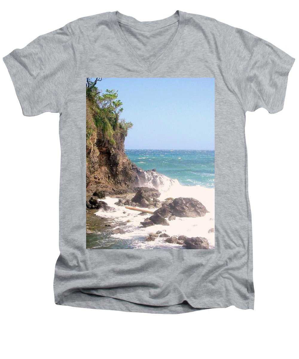 Dominica Men's V-Neck T-Shirt featuring the photograph Dominica North Atlantic Coast by Ian MacDonald