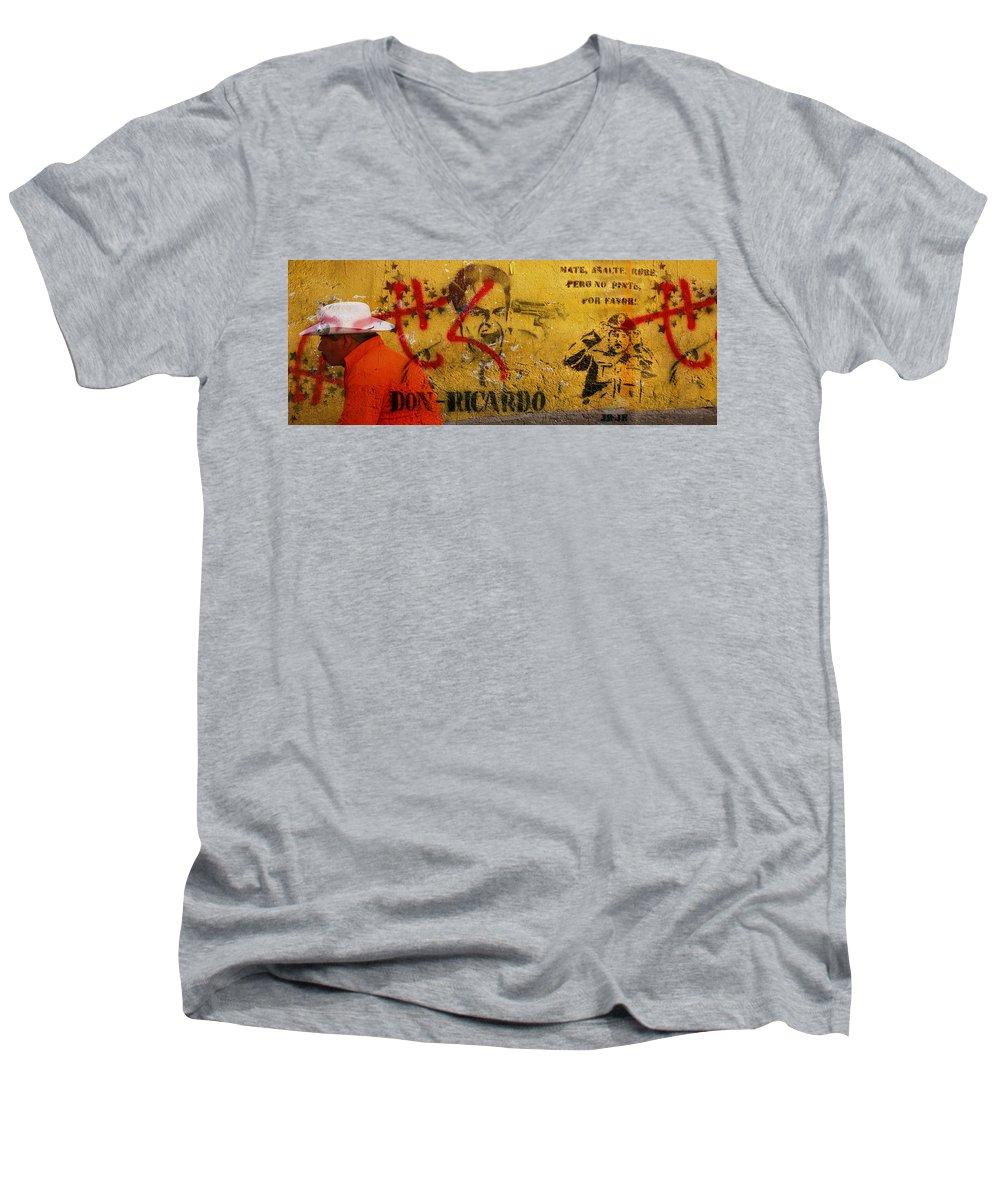 Grafitti Men's V-Neck T-Shirt featuring the photograph Don-ricardo by Skip Hunt