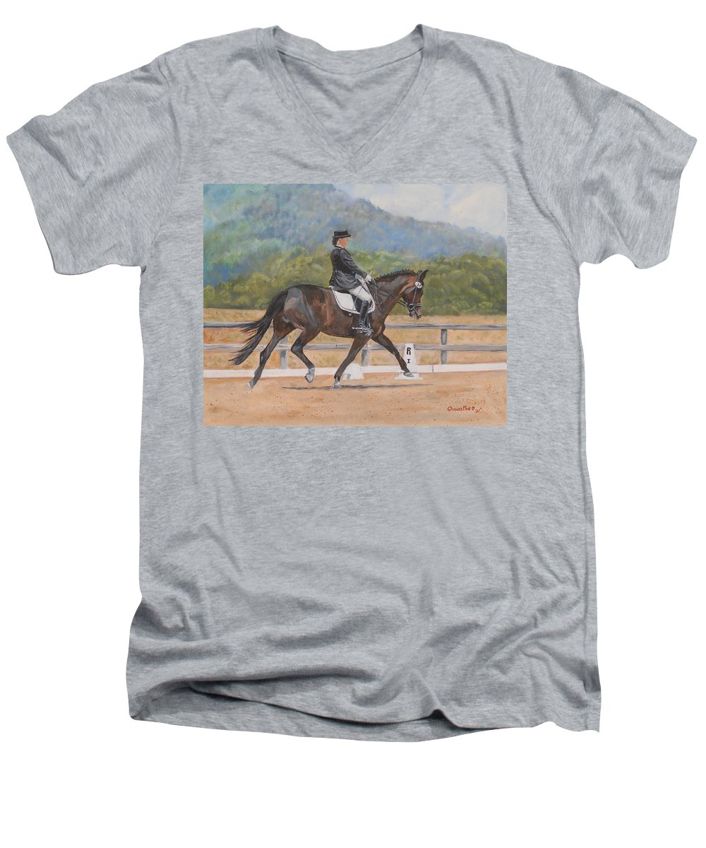 Horse Men's V-Neck T-Shirt featuring the painting Donnerlittchen by Quwatha Valentine