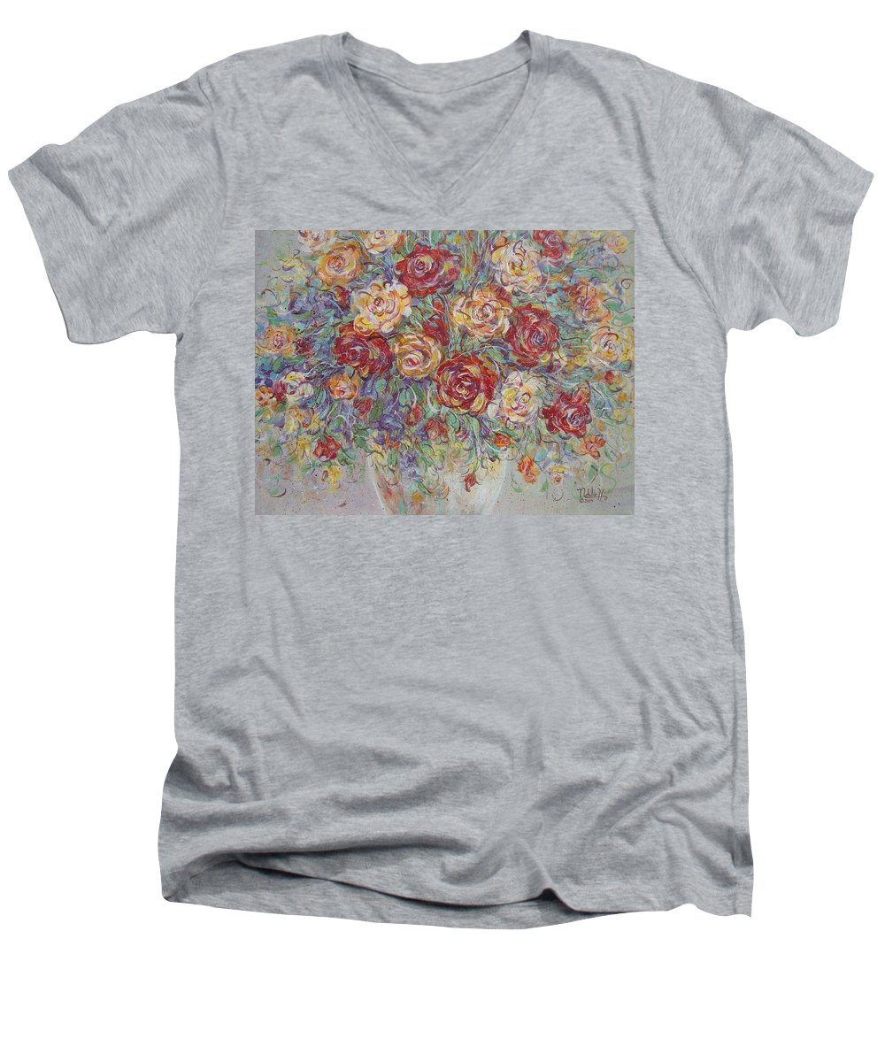 Flowers Men's V-Neck T-Shirt featuring the painting Double Delight. by Natalie Holland
