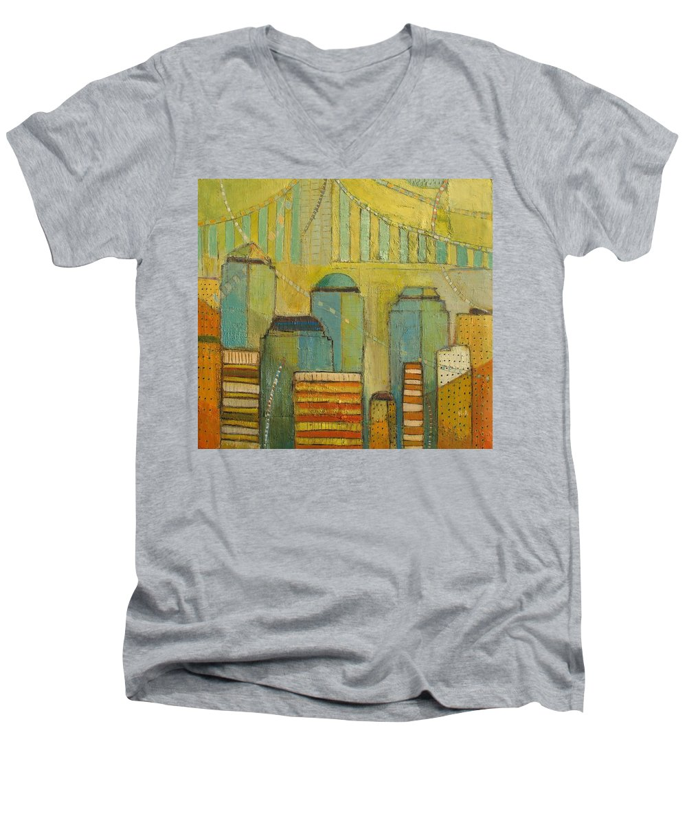 Men's V-Neck T-Shirt featuring the painting Downtown Manhattan by Habib Ayat