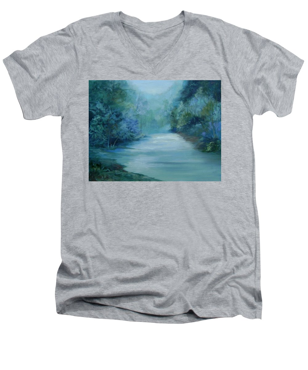 Burton River Georgia Men's V-Neck T-Shirt featuring the painting Dreamsome by Ginger Concepcion