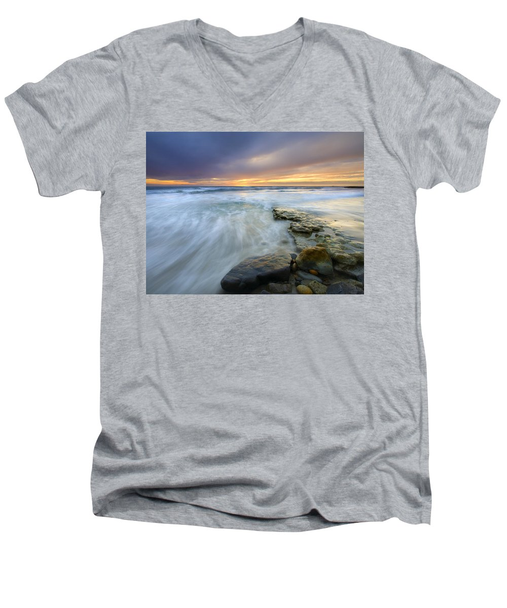 Rocks Men's V-Neck T-Shirt featuring the photograph Driven Before The Storm by Mike Dawson